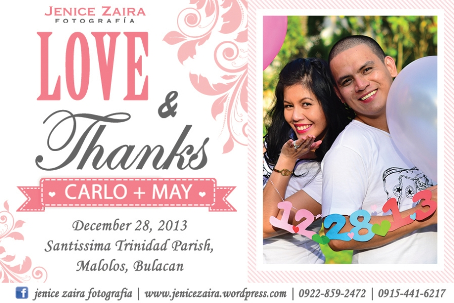 Carlo and May Thank you card
