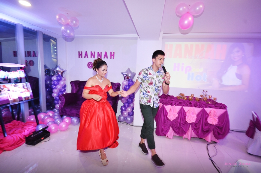 Derrick Monasterio, a GMA Artist, gave a surprise song number for Hanna. He was her first dance / 1st Rose for her debut.